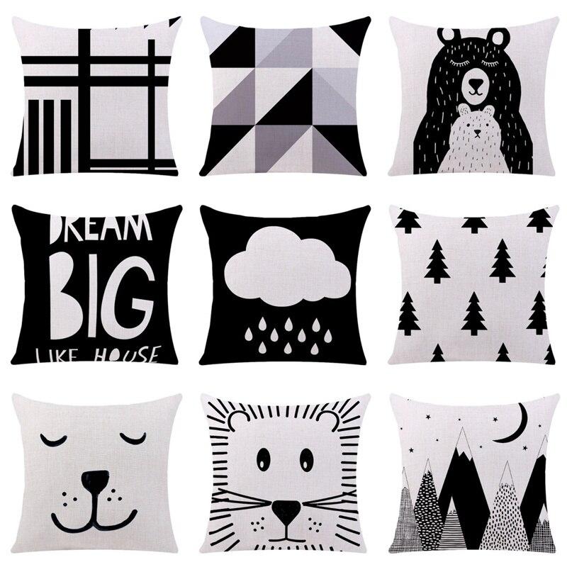 Новинка, черно-белая наволочка для подушки, мультяшная крутая панда, медведь, фотография, для дивана, Автомобильная подушка, чехол для подуш...