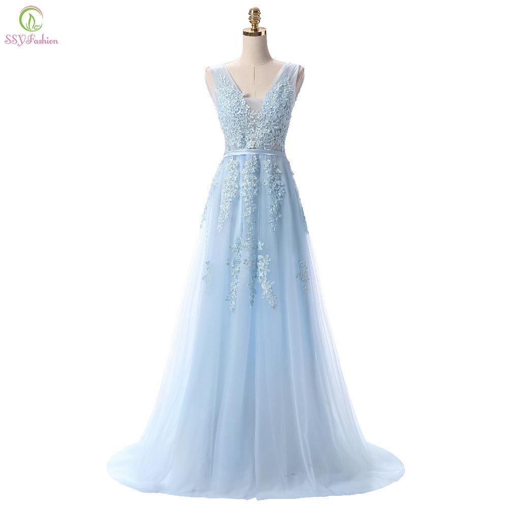SSYFashion-فستان سهرة طويل ، دانتيل أزرق فاتح ، رقبة على شكل v ، جلد ، حفلة زفاف ، مثير ، رسن ، حفلة موسيقية ، مخصص ، عرض خاص