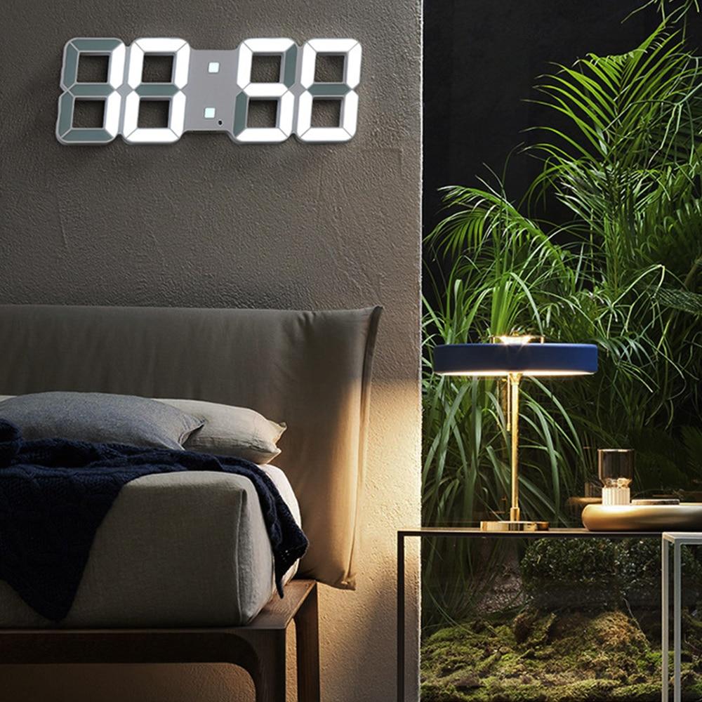 3D LED Digital Wall Clock Date Time Nightlight Display Table Desktop Clocks Alarm Clock Home Living Room Decor Modern Design