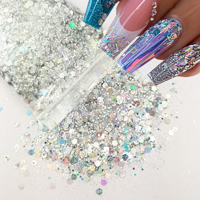 10G/Bag Laser Chunky Glitter Sequins Holographic Hexagon Shape Sparkly Nail Art Flakes Mixed Size 3D Decoration Gel Accossories