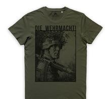 Impressão t camisa masculina verão estilo moda morrer wehrmacht t camisa heer soldaten infanterie divisão stahlhelm 032588