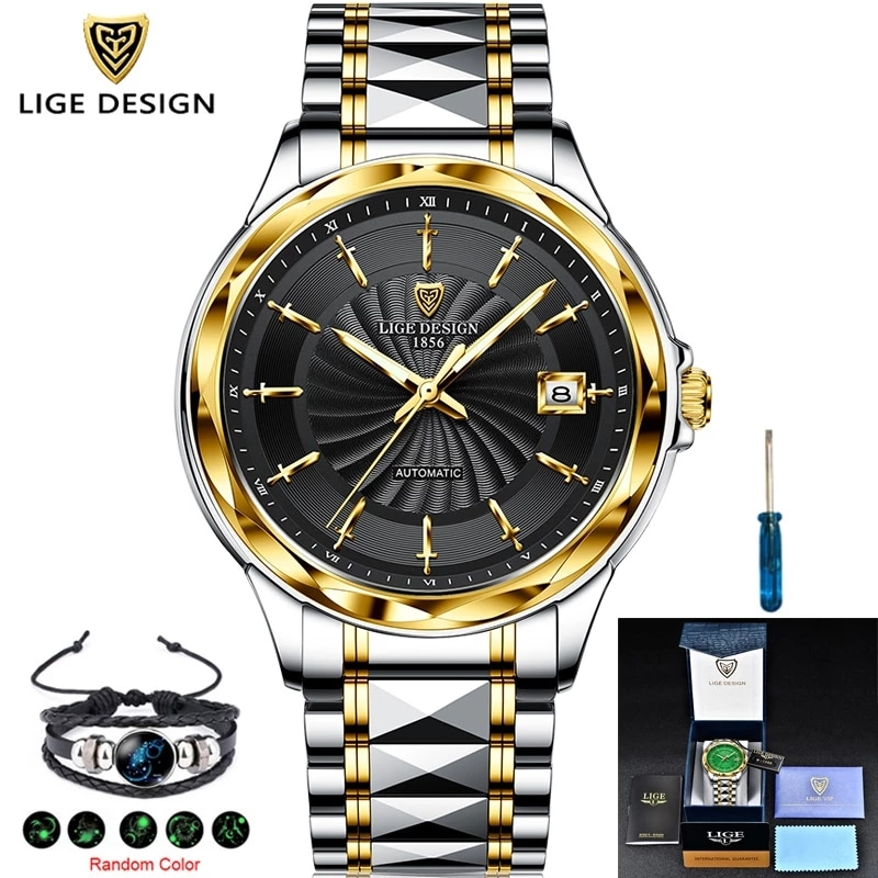 LIGE New High-end luxury Mens Watches Automatic Mechanical Tungsten Steel Sapphire Glass 50M Waterproof Watch Relogio Masculino enlarge