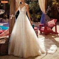 bohemian white wedding dress sphetti straps appliqued bridal gowns a line tulle 2021 robe de mari%c3%a9e custom made hochzeitskleid