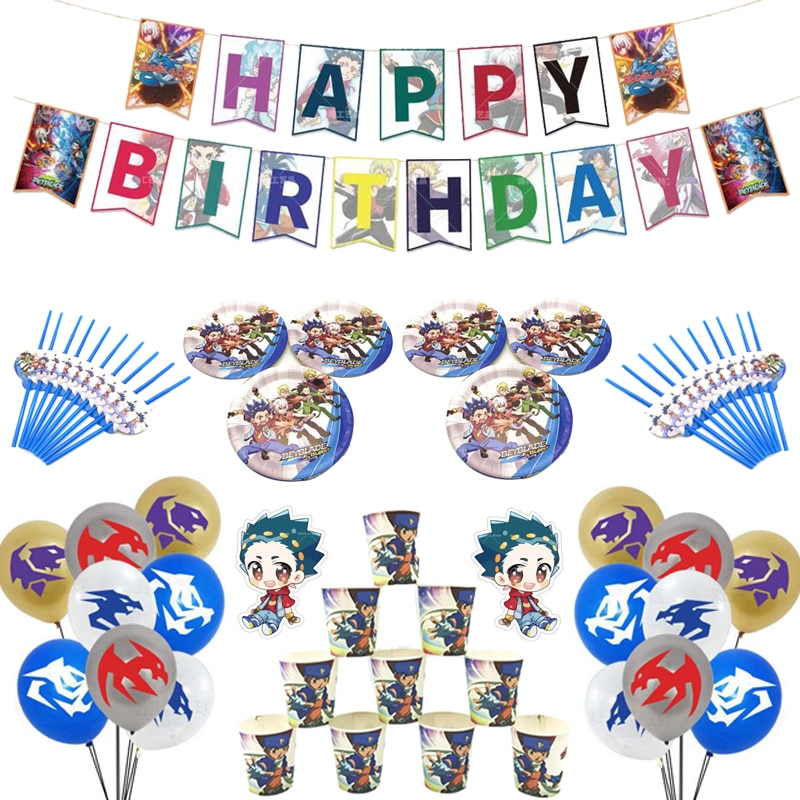 Cartoon Disposable Party Tableware Beyblade Theme Birthday Decoration Paper Cups And Plates Kids Shower Birthday Party Supplies