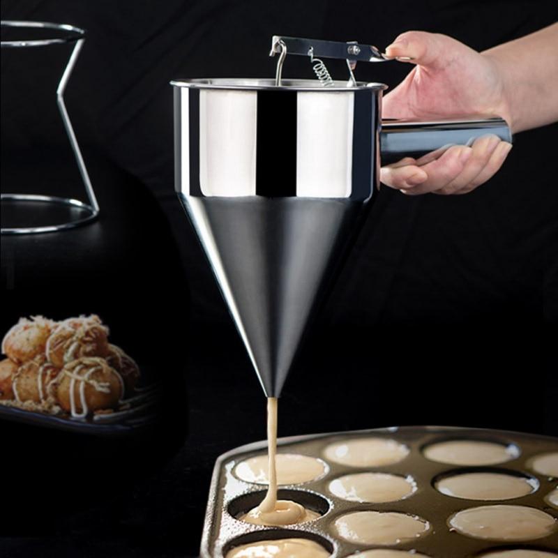 Cocina ajustable de pistón embudo molde para pasteles y chocolate masa de pastel de crema panqueques Muffin embudo para hornear herramientas