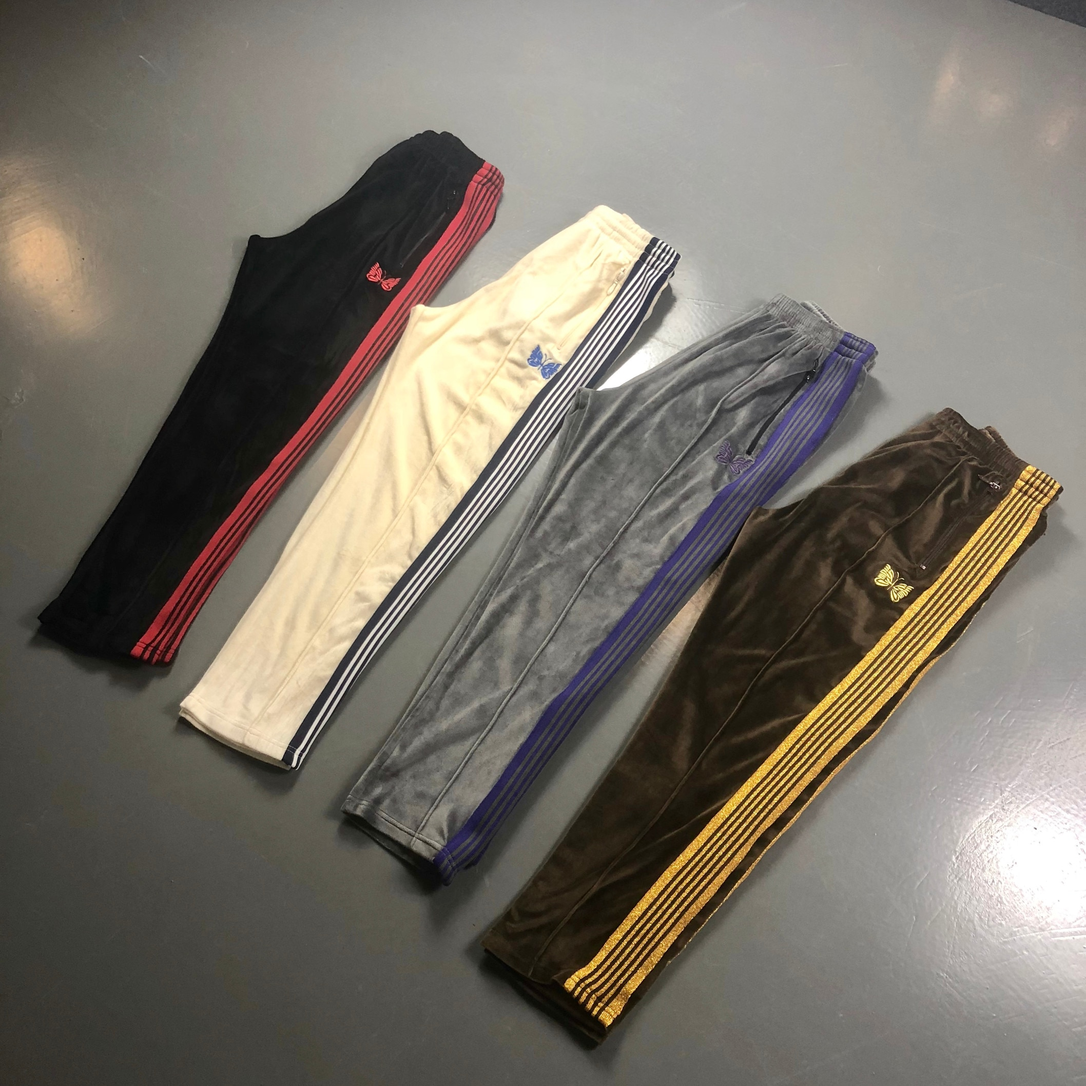 AWGE X Needles Pants Men Women Casual AWGE X Needles Sweatpants 19SS NARROW VELOUR Butterfly Embroidery Trousers