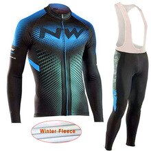 NW 2020 Mens Long Sleeve Winter Thermal Fleece Cycling Jersey Set Warm Racing Bike Cycling Clothing Ropa Ciclismo Uniformes C26