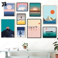 canvas painting for living room sunrise lighthouse landscape cartoon animals wall art nordic posters and prints for home decor