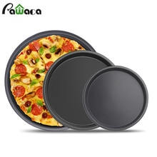 Plateau à Pizza antiadhésif de 6 7 8 pouces   Ustensiles de cuisson, plaque à Pizza en acier au carbone, rond à plat profond, plateau à Pizza, moule outils de cuisson