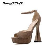 DongCiTaCi 2020 Women High Heels Sandals Shoes Woman Platforms Ankle Strap Pumps Fashion Sexy Lady P