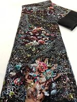 beautiful colourful sequins lace fabric 5yards flowers net tulle lace fabric for lady party dress zx3251