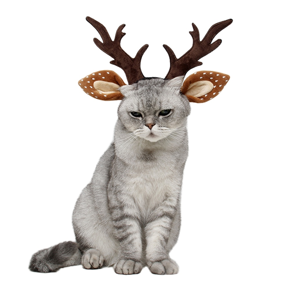 Engraçado Traje Do Gato Do Cão de Natal Elk Antler Chapéu Headwear Pet Disfarce Cocar Acessórios Halloween Festa de Ano Novo Foto Props
