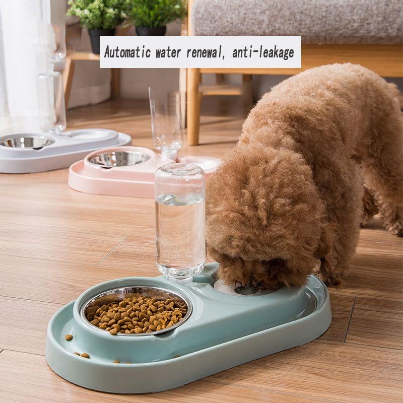 Pet Feeder Water Dispenser Splashproof Anti-leakage Plastic Dual Port Bowls Dogs Feeder Dish Cat Feeding Watering Supplies