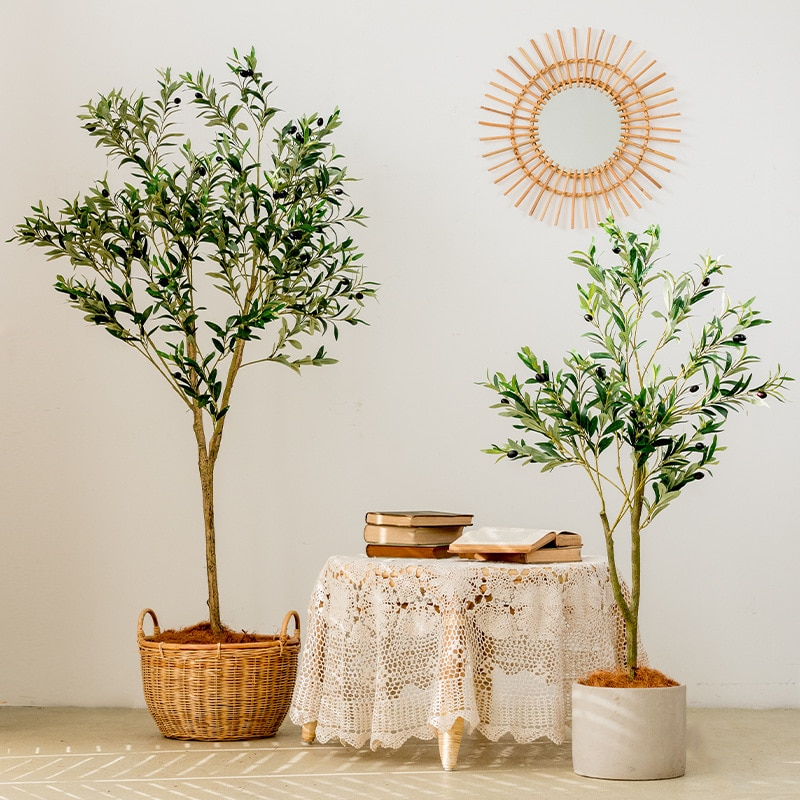 120cm Artificial Olive Tree Plant Potted Fake Olive Leaf Faux Stem with Fruit Tree Large Landscaping Plant Tree Decoration