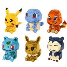Anime figurines poke micro diamant bloc nintendoes Pikachu ronflex Salamèche Carapuce Évoli Bulbizarre nanobricks jouets