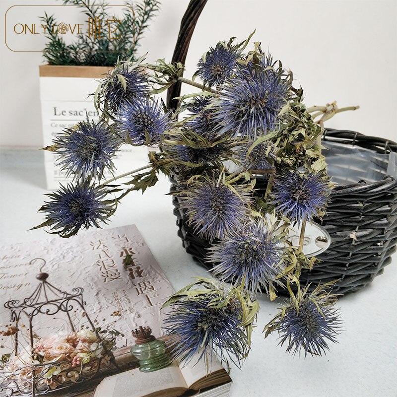 Qin-ramo de flores secas de espina azul, decoración de granja para el...