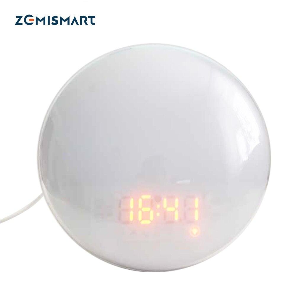Zemismart – réveil intelligent avec lumière, wi-fi, 7 couleurs, pour le lever/coucher du soleil, fonctionne avec Tuya, Alexa et Google Home