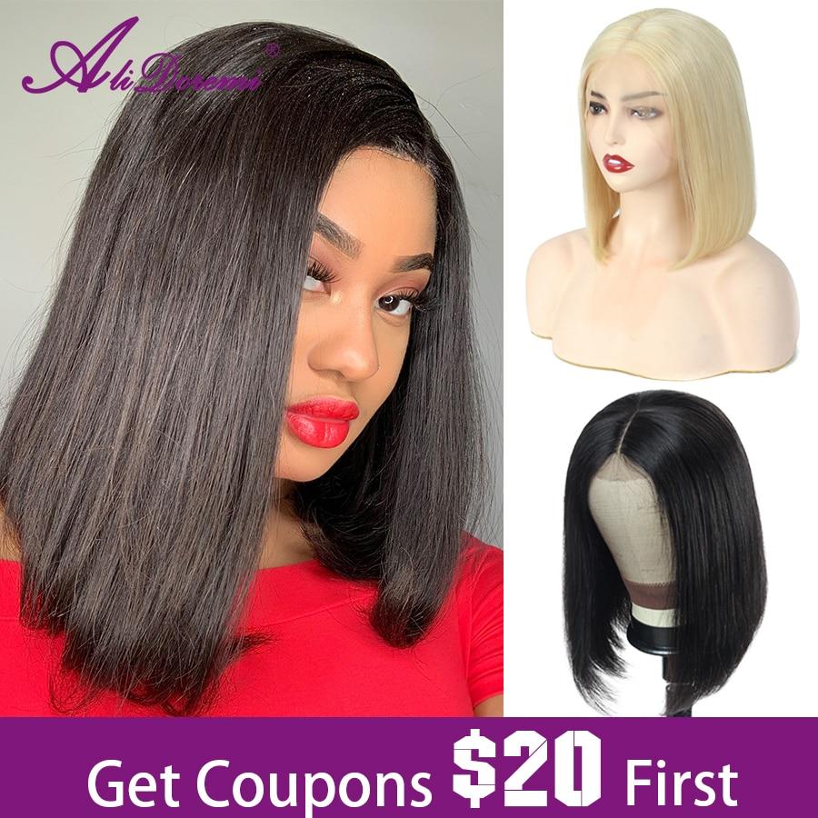 Alidoremi 13x4 Lace Front Human Hair Wigs Blonde 613 Bob Lace Frontal Wig Brazilian Straight Bob Wig 150% 180% Non-remy
