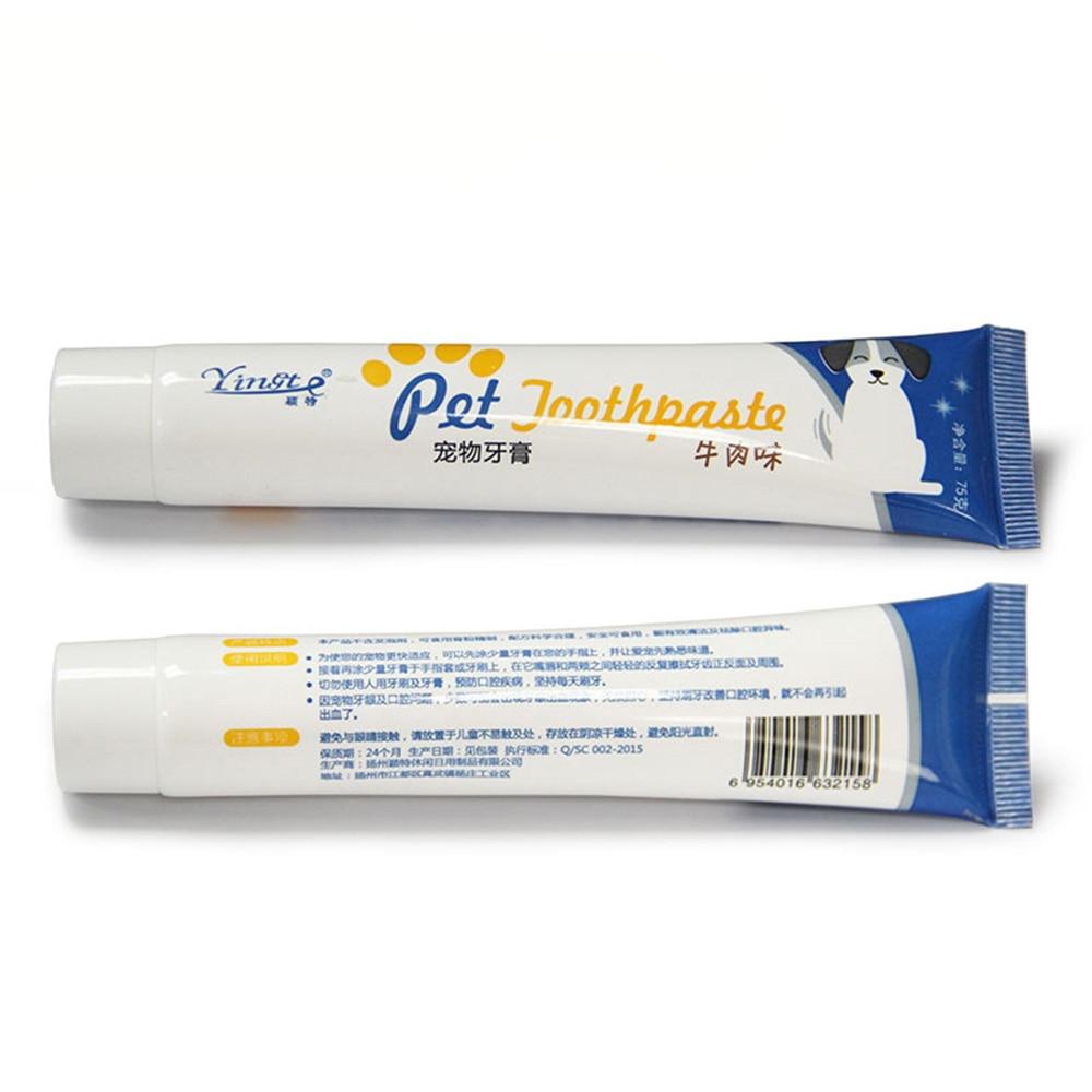 Vanilla Beef Taste Pet Toothpaste Set Toothbrush Teeth Brush Dog Cat Oral Care new
