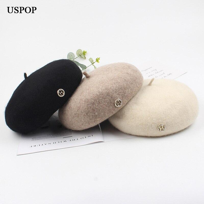 USPOP New wool berets women diamond letter beret female autumn winter hats solid color warm hat