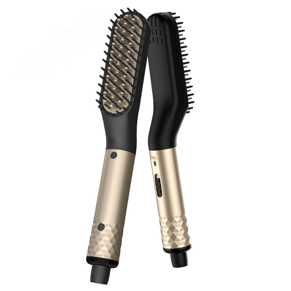 تسخين كهربائي Brushe مكواة فرد الشعر فرشاة اللحية تنعيم مشط للرجال الشعر مستقيم أداة تسخين سريع