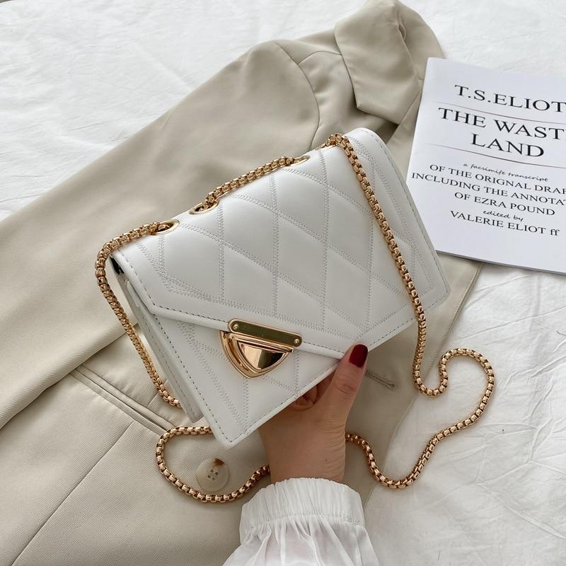 Bolsas de Verão Nova Tendência Feminina Diamante Treliça Longo Corrente Bolsa Ombro Moda Luxo Couro Mensageiro 2021