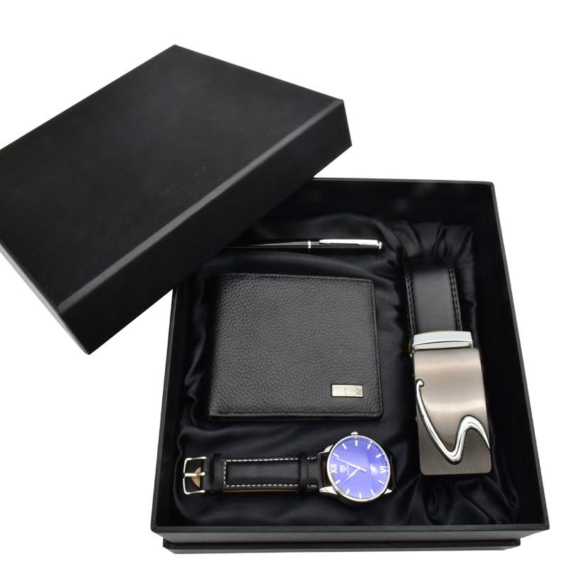 مجموعة هدايا ساعة رجالية ، حزام ، محفظة ، قلم ، هدية لصديقها ، عيد الحب ، ساعة يد كوارتز فاخرة ، هدية رأس السنة الجديدة