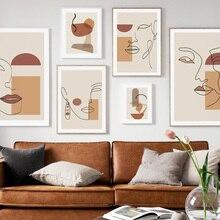 Abstrait fille géométrie ligne courbe nordique Vintage affiches et impressions mur Art toile peinture mur photos pour salon décor