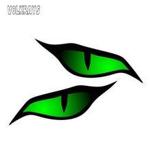 Volkrays 2 X 성격 자동차 스티커 쌍 악마의 눈 디자인 녹색 자동차 오토바이 헬멧 3D 비닐, 12cm * 5cm