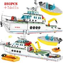 893 pièces ville Police mer secours bateau blocs de construction troupes spéciales bateau Figures techniques briques garçons jouets éducatifs