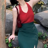bottoming t shirt retro female summer 2021 new sexy halter neck v neck suspender slim short stretch slim waistcoat crop tops