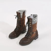 new style womens boots fashion foreign trade pu wool ethnic wind rivets cross lace snow boots fashion wild personality large si