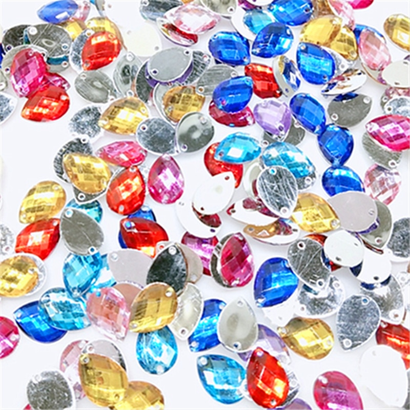 100/500 Uds. Gota de purpurina agua colorida decoración de arte pedrería rueda 14X10mm diseño encanto puntas de uñas gema piedras accesorio