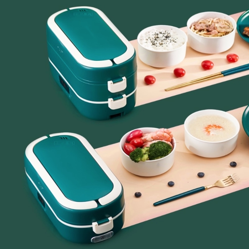 Electric Lunch Box 2 Layers Food Warmer Small Rice Cooker Automatic Heating Timing Insulation Mini Office Cook Lunch Warmer 220V