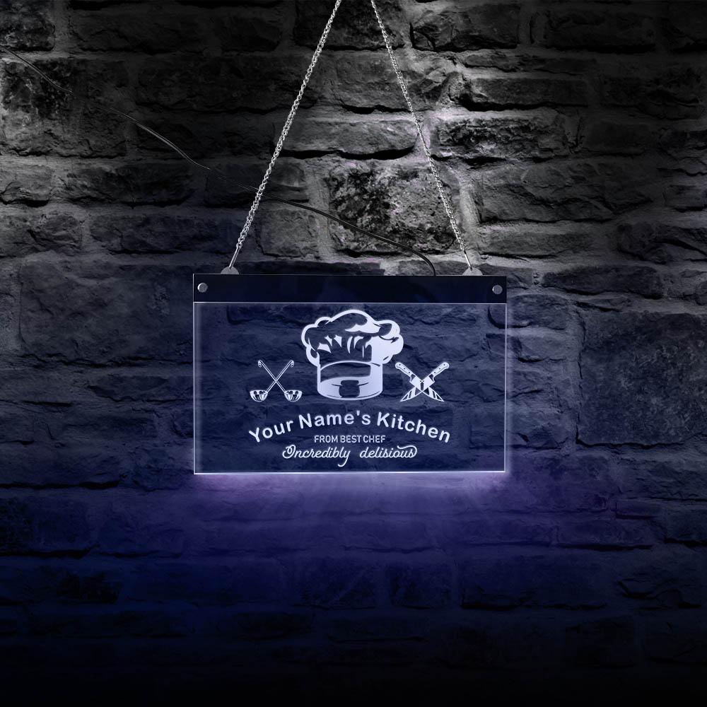 Increíblemente deliciosa de la mejor decoración de iluminación de cocina de Chef LED neón cartel personalizado con nombre de restaurante cartel para colgar en la pared