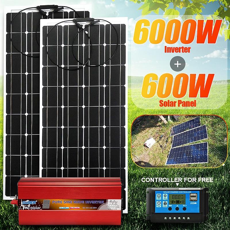 Solar Panel 6000W Pure Sine Wave Inverter 24V 12V to 220V 50Hz Voltage Transformer Power Converter Solar Power Energy System Kit