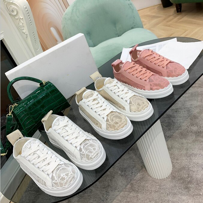 فاخر مصمم جديد تنس أحذية غير رسمية أزياء من الدانتل حتى مسطحة القاع المرأة كورليس شبكة مستديرة رئيس منخفضة الطبقة الرياضية 35-41