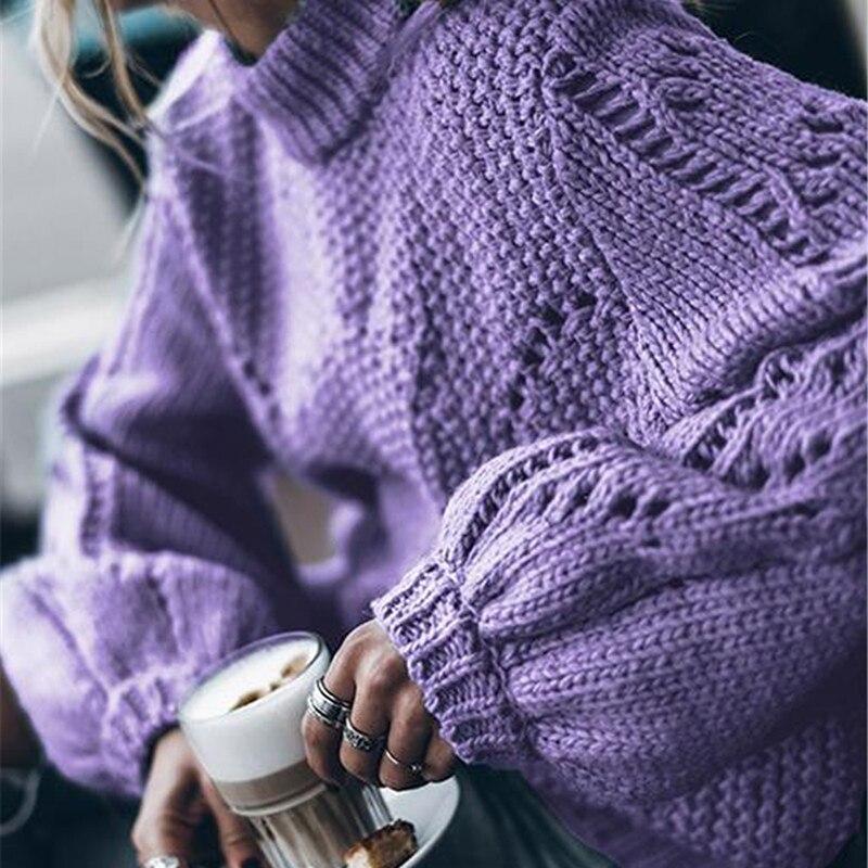 Suéter femenino 2019 Otoño Invierno cuello alto tejido mujer suéter y Jersey mujer Tricot Jersey