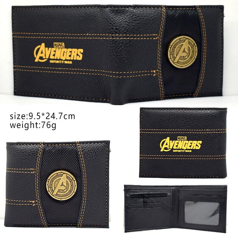 Summer Style Fashion Men Wallets Comics Marvel The Avengers America captain Purse Money Bag Batman Ironman Hulk Leather Wallet