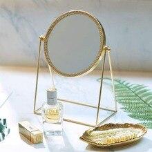 Ins lustro do makijażu próżność Vintage Metal lusterko kosmetyczne Valentine prezent piękna dziewczyna makijaż komoda toaletka stół biurko dziewczyna