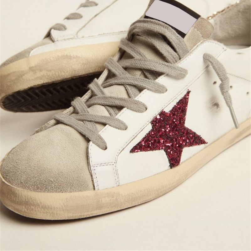 2021 Autumn/winter New Parent-child Casual Shoes First Layer Cowhide Children's Old Small Dirty Gold Sequin Back Tail Shoes QZ48 enlarge