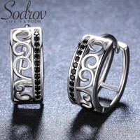sodrov round 925 sterling silver jewelry delicate pattern hoop earrings for women black spinel boucles doreilles i030