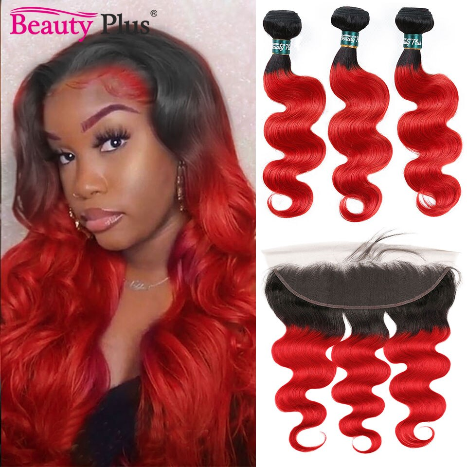 Colored Red Bundles With Frontals 13x4 Ear To Ear Frontal Flaming Red Peruvian Human Hair Body Wave Lace Frontal With Bundles