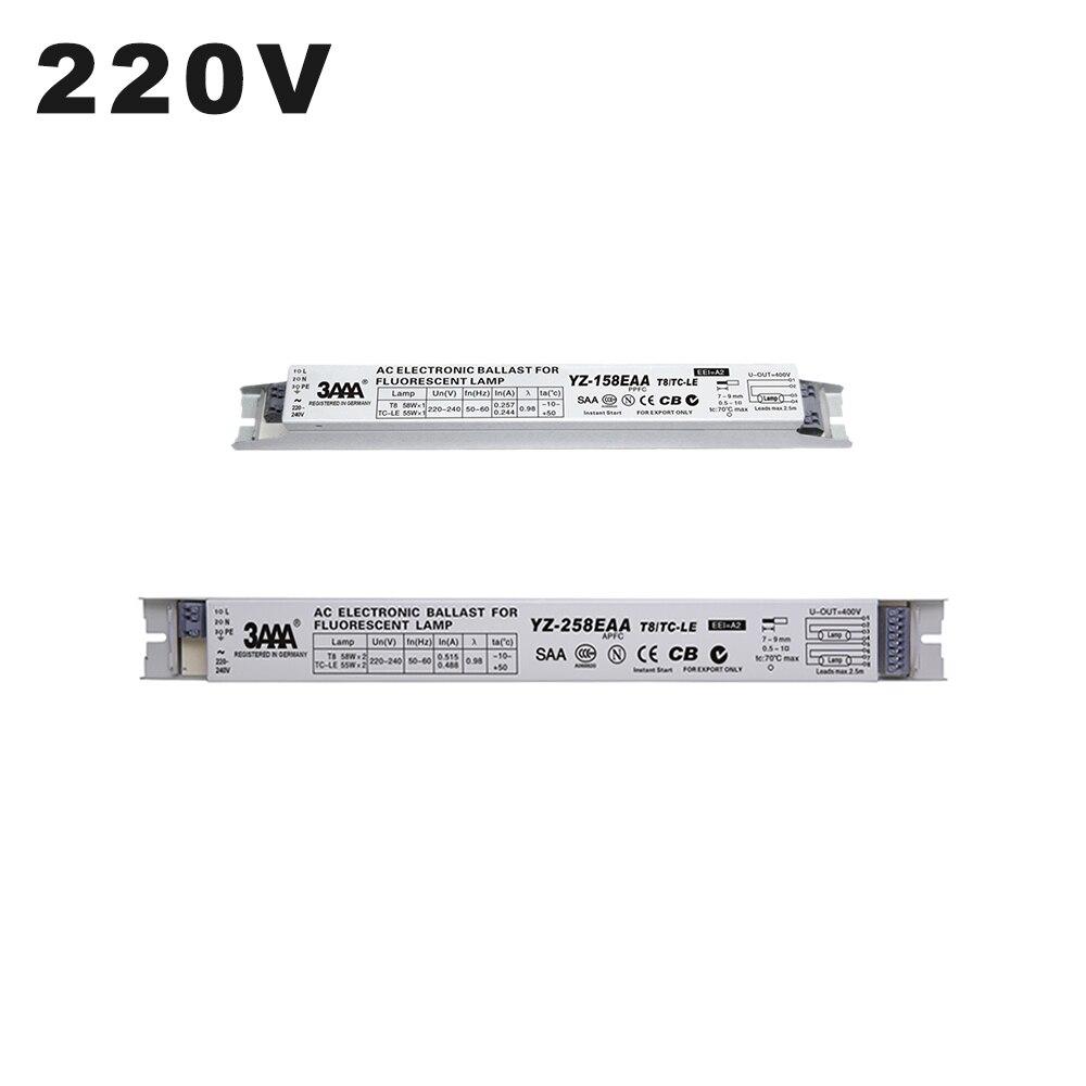220 v YZ-158EAA YZ-258EAA t8/TC-L 2*58 w 2*55 w reator eletrônico para t8 55 w lâmpada fluorescente 58 w caixa de luz de publicidade retificador