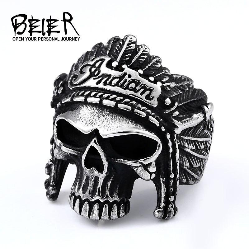 BEIER Chief Acero inoxidable EE. UU. Motorista de la motocicleta motorista moda hombres cráneo joyería de anillos punk Finger regalo BR8-190