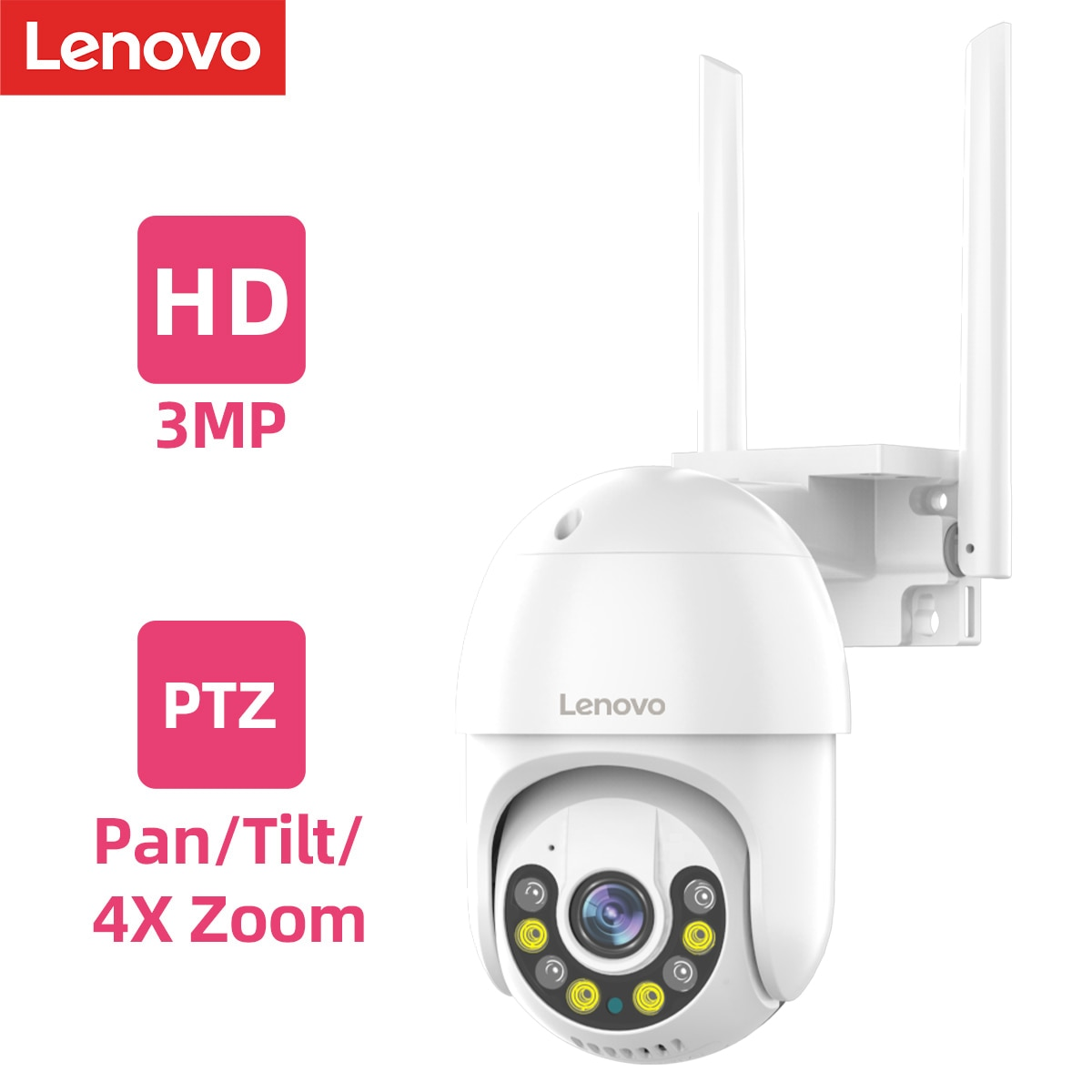 Lenovo 3MP PTZ WIFI IP Camera Outdoor 4X Digital Zoom Night Full Color Wireless P2P Security CCTV Camera Two Way Speak Audio