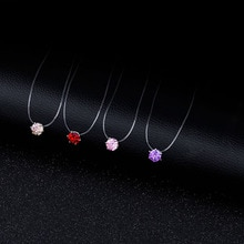 Cz pierre cristal Zircon collier pour femmes mode carré 6 griffe Invisible Transparent ligne de pêche chaîne collier pour les femmes