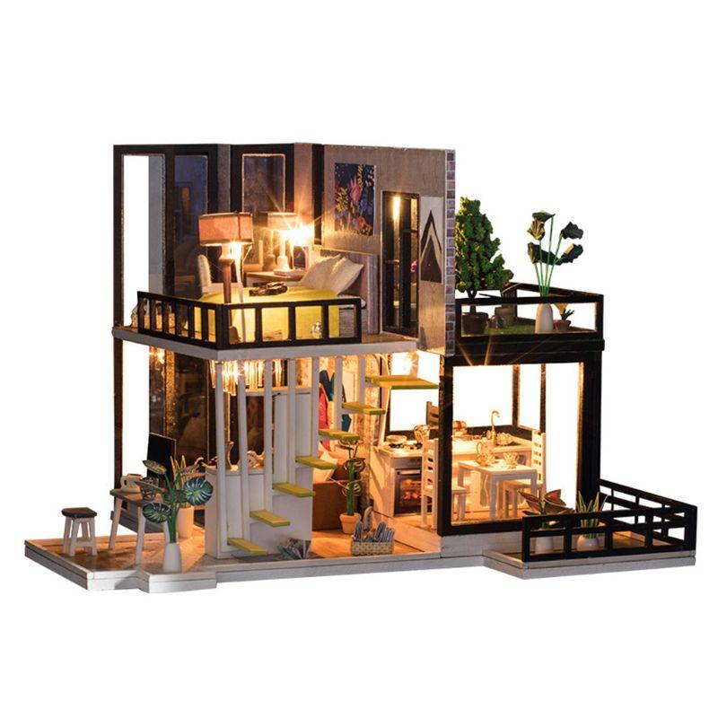 DIY casa de muñecas grande Villa en miniatura casa de muñecas Kit con luz-madera Regalo de Cumpleaños calidad Superior