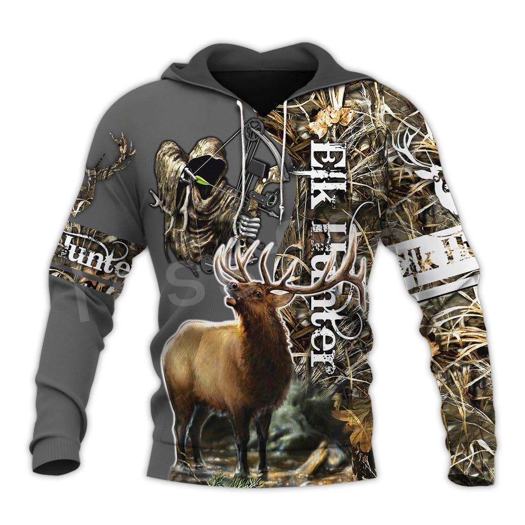 Tessffel Animal Bow ours chasseur chasse camouflage survêtement Harajuku NewFashion unisexe 3DPrint sweats/sweats à capuche/fermeture éclair/veste A-11