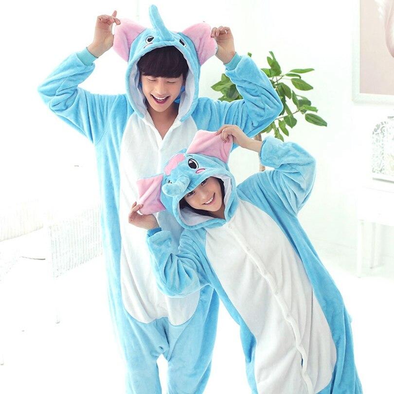 Elefante adulto Kigurumi mujeres hombres dibujos animados Animal Cosplay disfraz invierno Onesie pijama con capucha pareja divertido traje de fiesta
